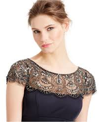 xscape cap sleeve lace dress xscape embellished cap sleeve draped gown in blue lyst