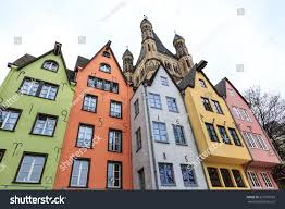 old colorful houses tower background city stock photo 237970933