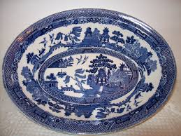 willow pattern jam pot vintage rare johnson brothers england willow china pattern 9 oval