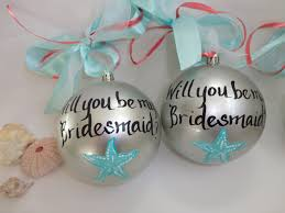 wedding ornaments personalized starfish will your be my bridesmaid ornaments painted