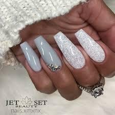 ballerina nails gray and white nails white glitter nails nails