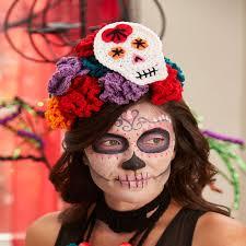 skulls flowers pompoms crochet for day of the dead