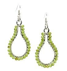 Peridot Chandelier Earrings Hammered Fine Silver Wire Wrapped Hoop Earrings With Peridot