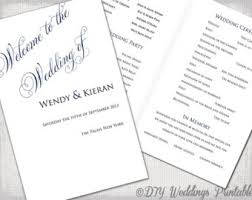 wedding booklet templates wedding program template diy printable order of ceremony