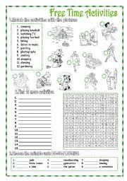 free time activities 2 pages key