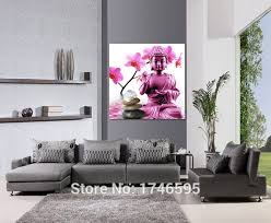 Buddha Room Decor Modern Home Decor Wall Picture Pink Flower Buddha Printed