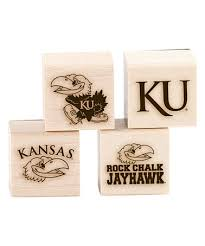 this kansas jayhawks four wood mount rubber st set