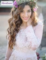 2015 romantic sheer long sleeve bohemian lace wedding dress blush