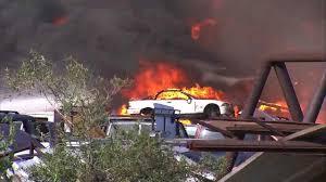 car junkyard wilmington ca los angeles city fire department abc7 com