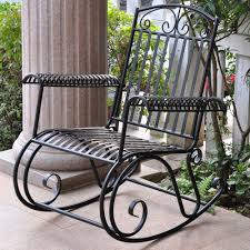 Outdoor Iron Rocking Chair Patio Porch Garden Furniture High Back - Outdoor iron furniture