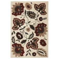 Mohawkhome Shop Mohawk Home Flowers Delight Beige Rectangular Indoor Woven