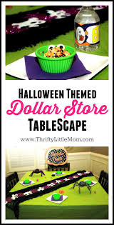 halloween themed dollar store tablescape thrifty little mom