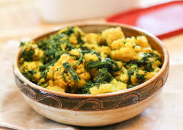 palak gobi sabzi recipe indian style cauliflower with spinach by