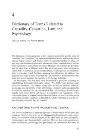 dictionary of terms related to causality causation law and