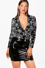 Halloween Skeleton Bodysuit Plus Nadia Skeleton Plunge Halloween Bodysuit Boohoo
