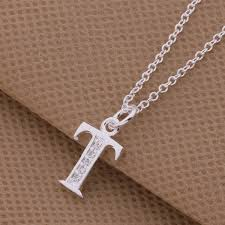 silver necklace with letters images Top quality silver letters p q s t pendant necklace with zircon jpg