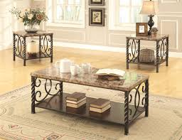 Livingroom Table Sets Lockhart Brown Marble Coffee Table Set Steal A Sofa Furniture