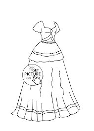 dress coloring page for girls printable free coloing 4kids com