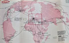 Alaska Air Route Map by The Timetablist Sabena Belgian World Airlines 1973
