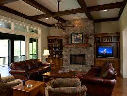 Mixing Leather And Fabric Sofas by Stone Fireplace Designs Family Room Craftsman With Ceiling