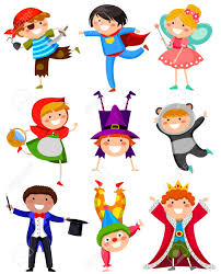 set of kids wearing different costumes royalty free cliparts