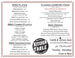 Menu Catering  Kitchen Table Bbq  Goosetown - Kitchen table menu