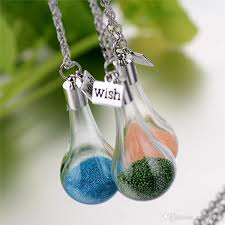 glass bottle necklace images Wholesale wishing bottle necklace candy color diy drift glass jpg