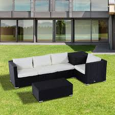 Outdoor Rattan Corner Sofa Outsunny 6pc Rattan Corner Sofa Set Storage Furniture W Cushion
