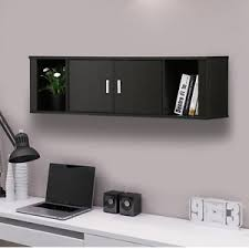 wall mount cabinet floating hutch storage home office living room