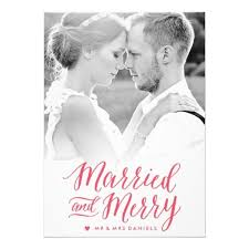 Newly Wed Christmas Card Married And Merry Red Holiday Photo Card Invitation Card Photos