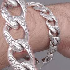 mens silver solid bracelet images Heavy art designed curb chain 925 sterling solid silver mens jpeg