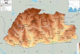Asia Physical Map Physical Map Of Bhutan Ezilon Maps