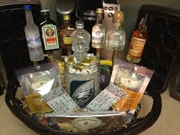 manly gift baskets manly gift basket mini liquor bottles on sticks snack nfl