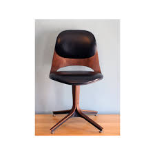 midcentury desk chair black leather and brown wooden mid century modern swivel desk
