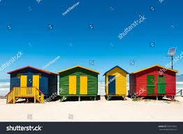 high tech house colorful beach huts hightech solar panel stock photo 539773933
