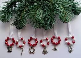 6 white ornaments holidays ribbon advent