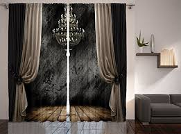 90 Inch Curtains Drapes Amazon Com Grey Curtains For Living Room By Ambesonne Retro