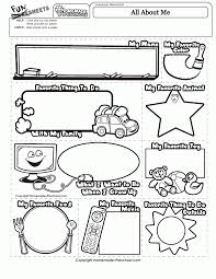 all about me coloring page inside pages worksheets eson me