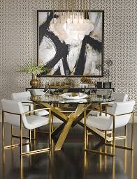 Glass Top Dining Room Table And Chairs by Refined Dining The Sophisticated Bold And Gold Decor Features
