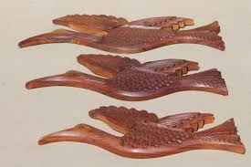 70s hippie vintage carved wood birds from india retro wall