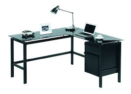 L Shaped Black Glass Desk Desk L Shaped Glass With Drawers Black Bestar Somerville In Beyond