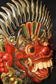balinese boma mask guardian protector bali wood carving wall