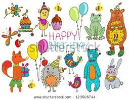 happy birthday card funny cartoon set stock vector 123505744
