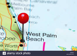 Map Of West Palm Beach West Palm Beach Pinned On A Map Of Florida Usa Stock Photo