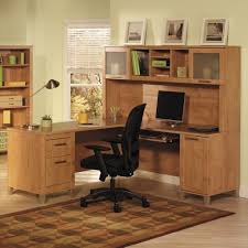 Computer Desks With Hutch by Unstained Oak Wood Computer Desk With Hutch And Square Frosted