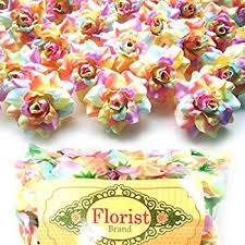 Silk Flowers Wholesale Amazon Com 100 Silk Rainbow Roses Flower Head 1 75