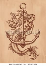 ink pen drawing mermaid anchor on stock illustration 451100824