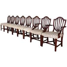 biggs set of eight shield back sheraton style dining chairs 1950s