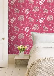 Pink FLowers Wall Painting In COntemporary Bedroom Home Interior - Design of wall painting