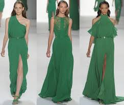 green bridal party gowns